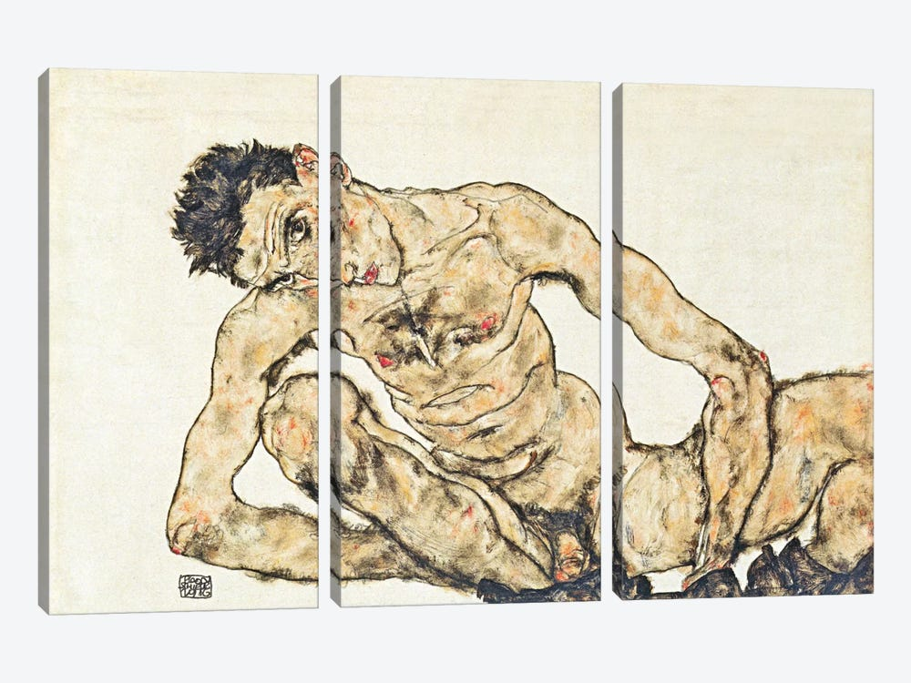 Nude Self-Portrait by Egon Schiele 3-piece Canvas Art Print