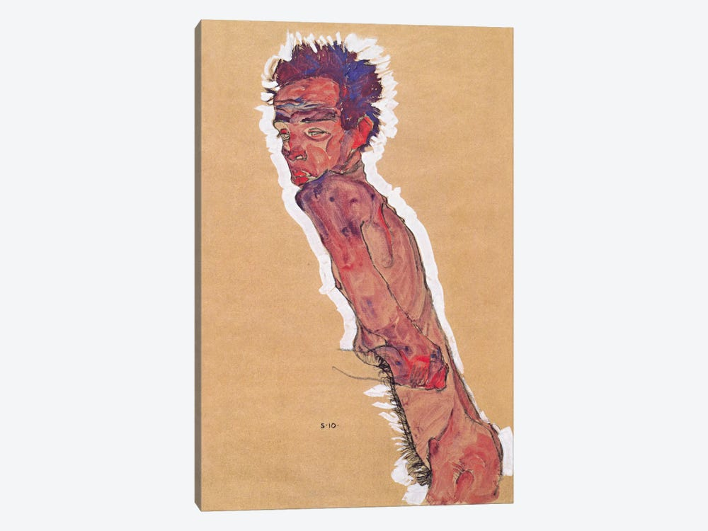 Self Portrait Nude by Egon Schiele 1-piece Canvas Art