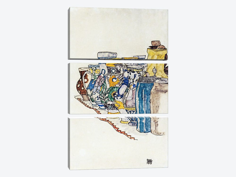 Bauer Painted Jugs by Egon Schiele 3-piece Art Print