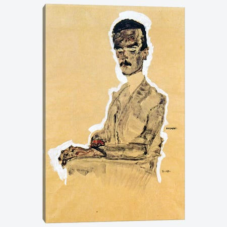 Portrait of Eduard Kosmack, Seated Canvas Print #8253} by Egon Schiele Canvas Art Print