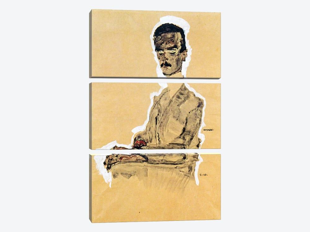 Portrait of Eduard Kosmack, Seated by Egon Schiele 3-piece Canvas Art