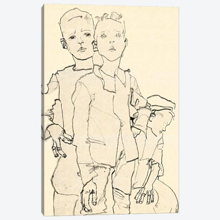 Three Street Urchins Canvas Print #8254} by Egon Schiele Canvas Art
