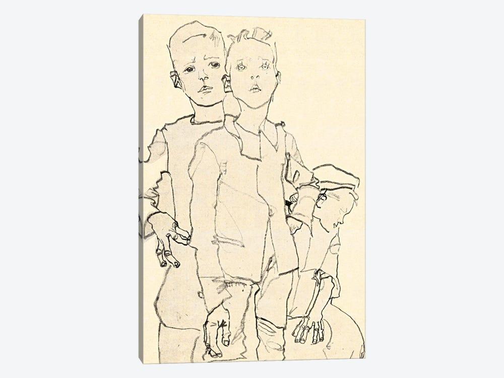 Three Street Urchins by Egon Schiele 1-piece Canvas Print