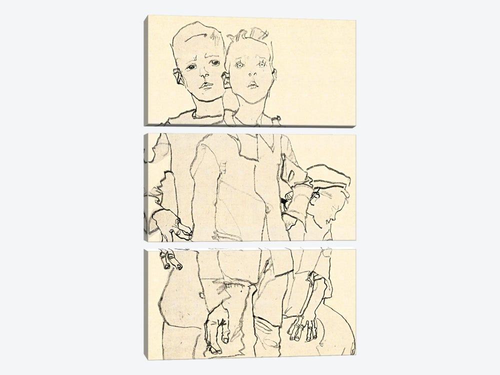 Three Street Urchins by Egon Schiele 3-piece Canvas Print