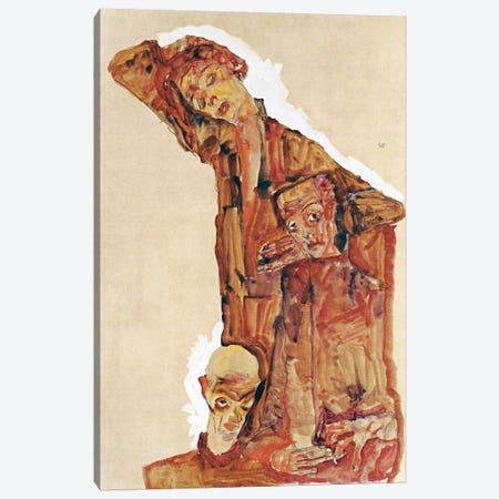 Composition With Three Male Figures Aka Self Portrait Canvas Print #8255} by Egon Schiele Canvas Art