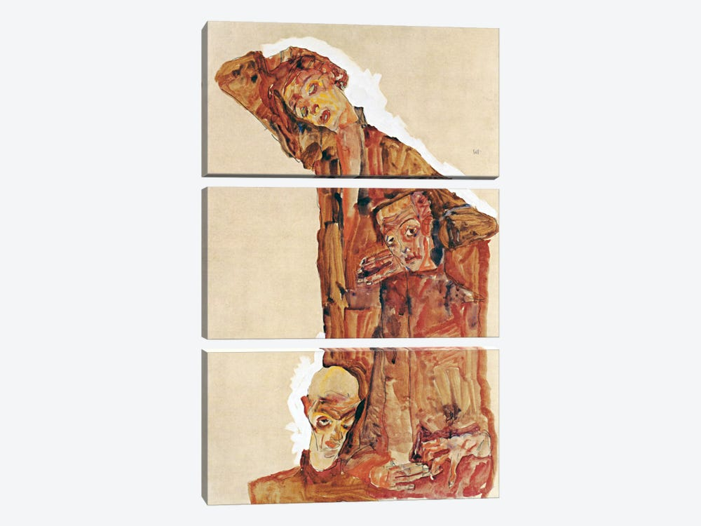 Composition With Three Male Figures Aka Self Portrait by Egon Schiele 3-piece Canvas Art