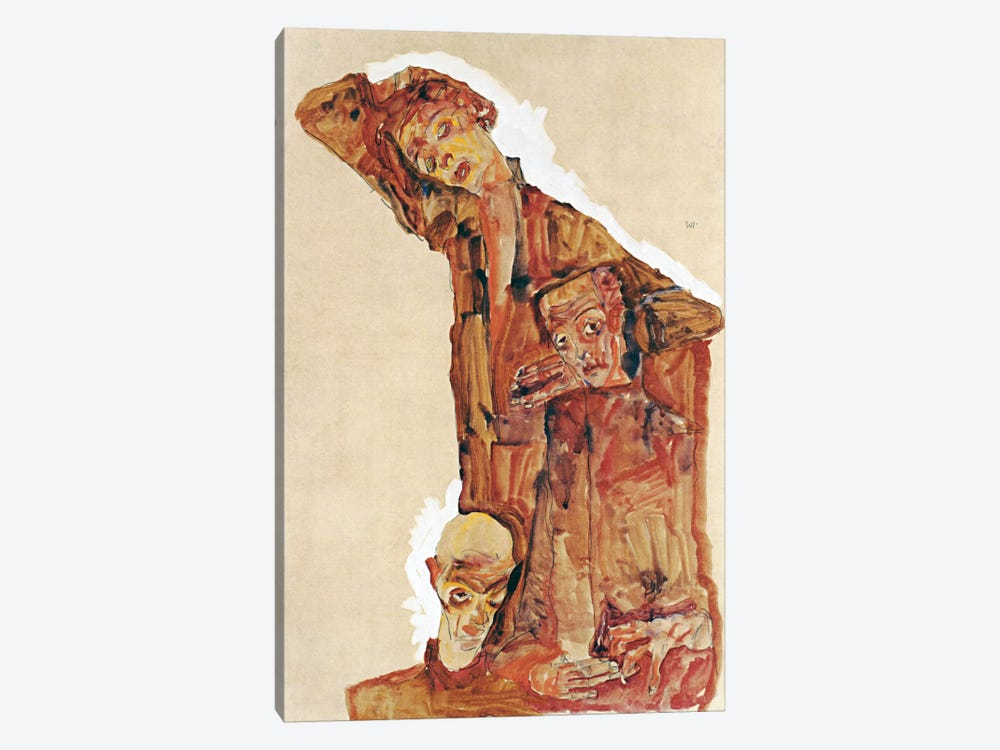 Composition With Three Male Figures Aka Self Portrait by Egon Schiele 1-piece Canvas Wall Art