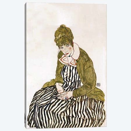 Edith Schiele, Seated Canvas Print #8256} by Egon Schiele Canvas Art