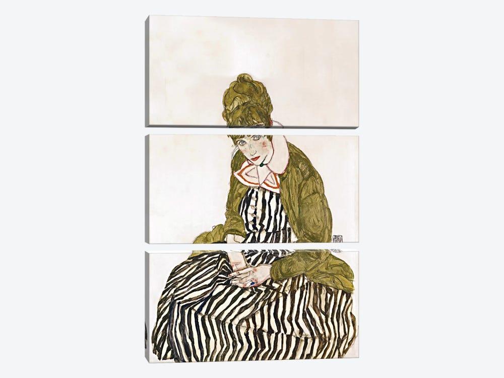 Edith Schiele, Seated by Egon Schiele 3-piece Canvas Print