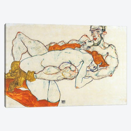Lovers Canvas Print #8257} by Egon Schiele Canvas Art
