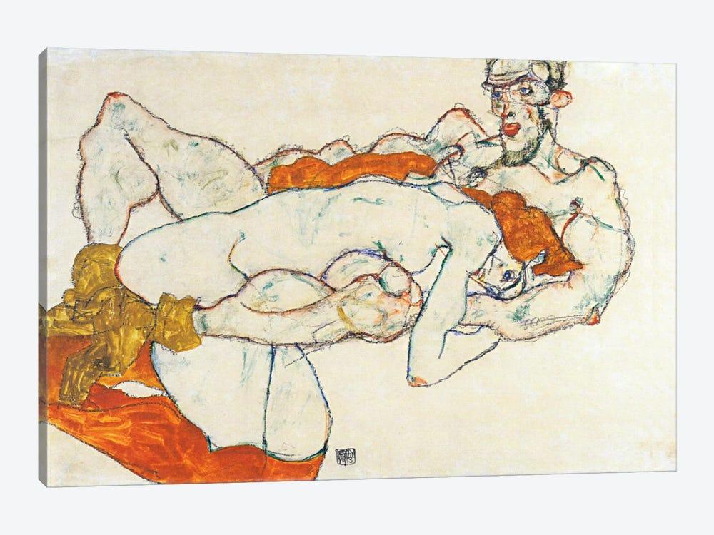 Lovers by Egon Schiele 1-piece Canvas Wall Art