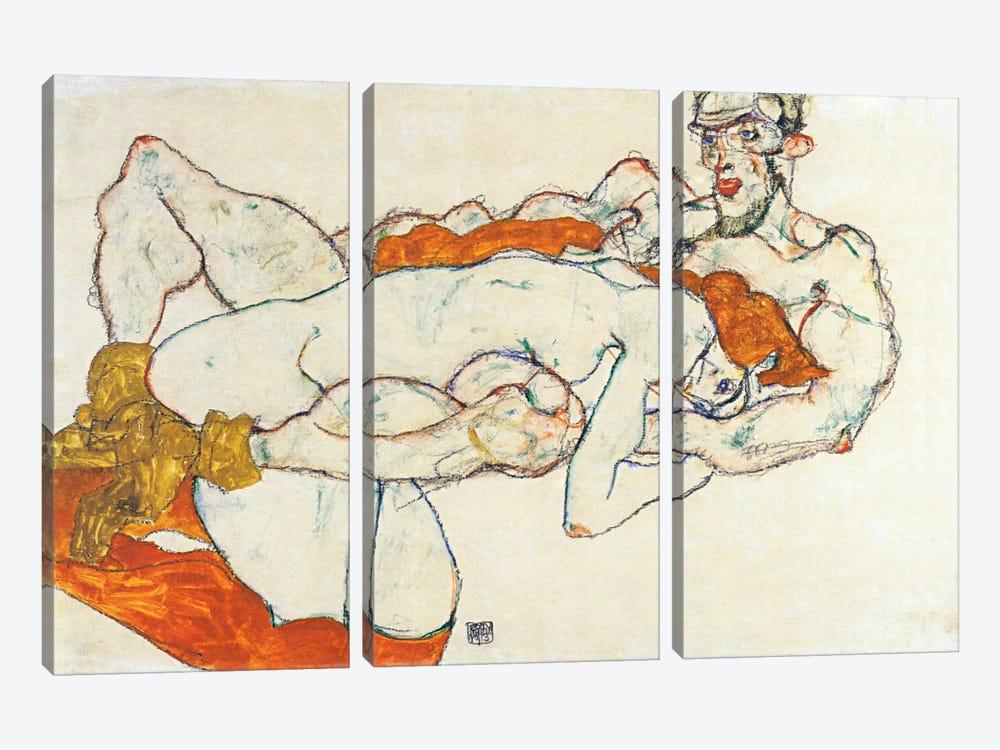 Lovers by Egon Schiele 3-piece Canvas Artwork