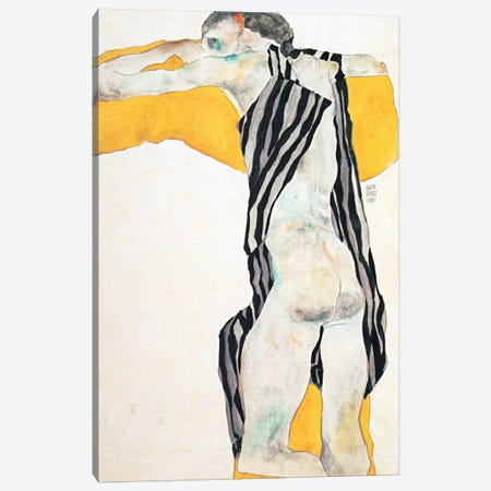 Reclining Nude Girl in the Striped Overalls Canvas Print #8258} by Egon Schiele Canvas Art Print