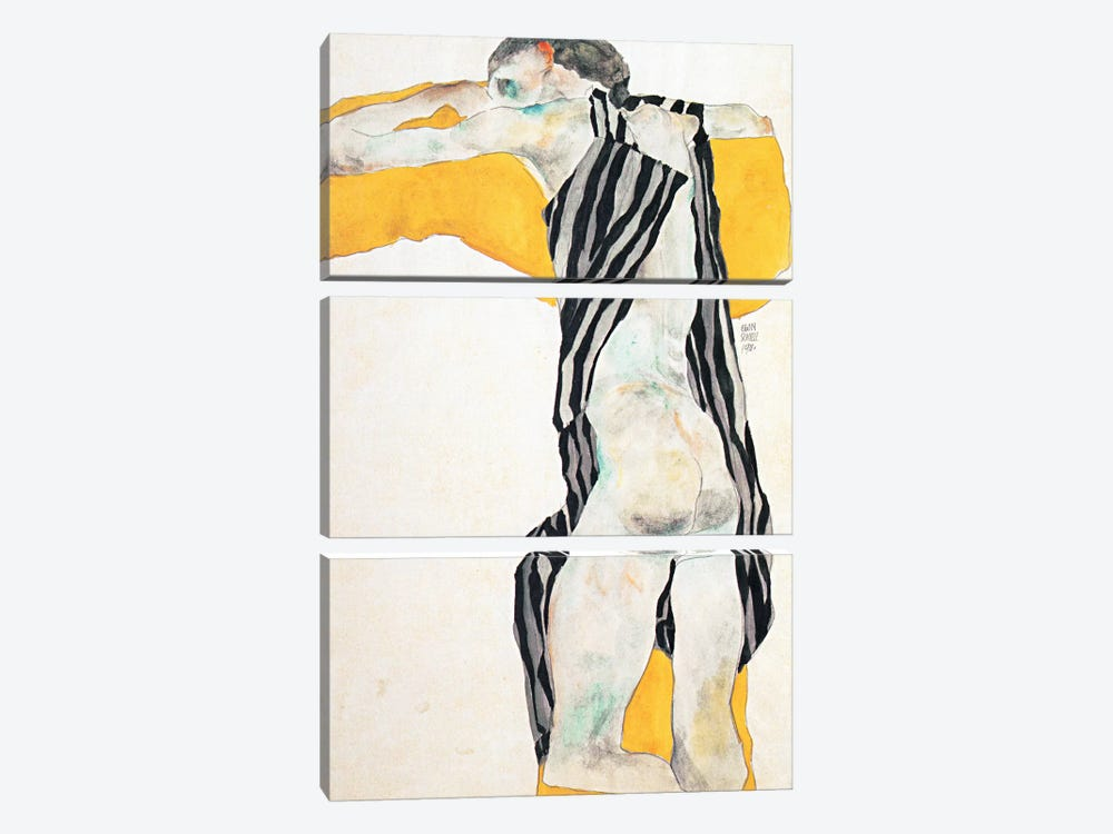 Reclining Nude Girl in the Striped Overalls by Egon Schiele 3-piece Canvas Art Print