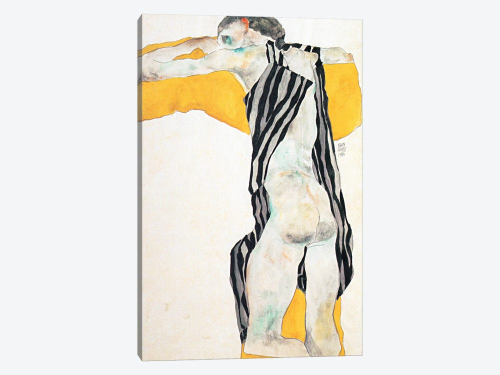 Reclining Nude Girl in the Striped Overalls by Egon Schiele 1-piece Art Print