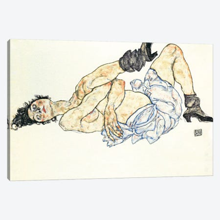 Reclining Female Nude 2 Canvas Print #8259} by Egon Schiele Art Print