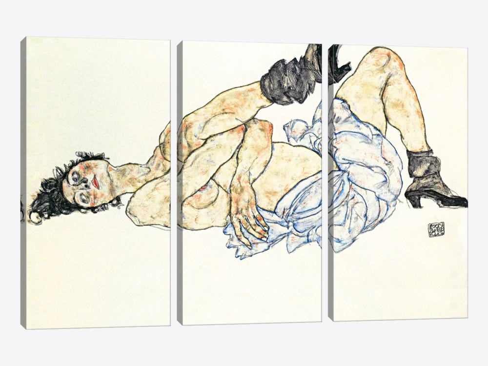 Reclining Female Nude 2 by Egon Schiele 3-piece Canvas Artwork