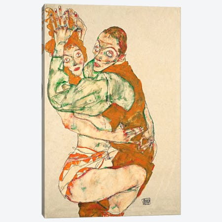Love Making Canvas Print #8260} by Egon Schiele Canvas Artwork
