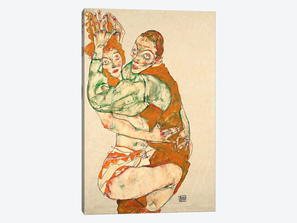Love Making by Egon Schiele 1-piece Canvas Artwork