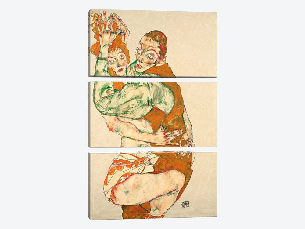 Love Making by Egon Schiele 3-piece Canvas Wall Art