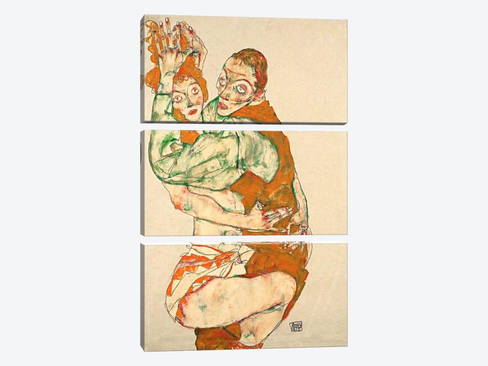 Love Making by Egon Schiele 3-piece Canvas Wall Art