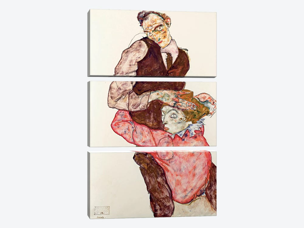 Lovers by Egon Schiele 3-piece Canvas Print