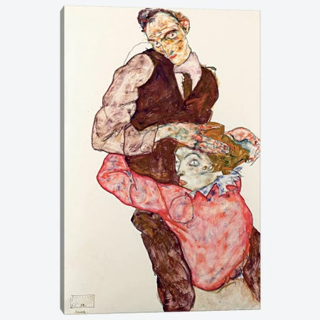 Lovers Canvas Print #8261} by Egon Schiele Canvas Artwork