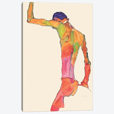 Standing Male Nude with Arm Raised, Back View Canvas Print #8262} by Egon Schiele Canvas Artwork