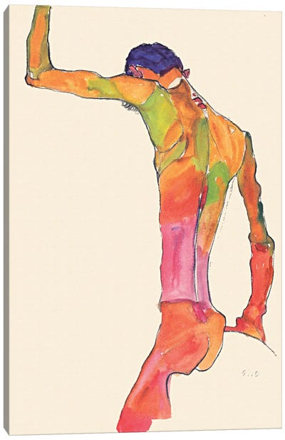 Standing Male Nude with Arm Raised, Back View Canvas Art Print