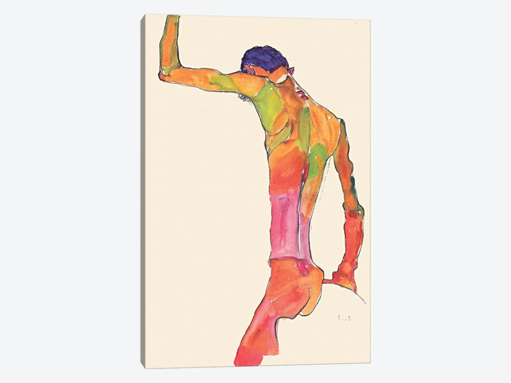 Standing Male Nude with Arm Raised, Back View by Egon Schiele 1-piece Canvas Wall Art