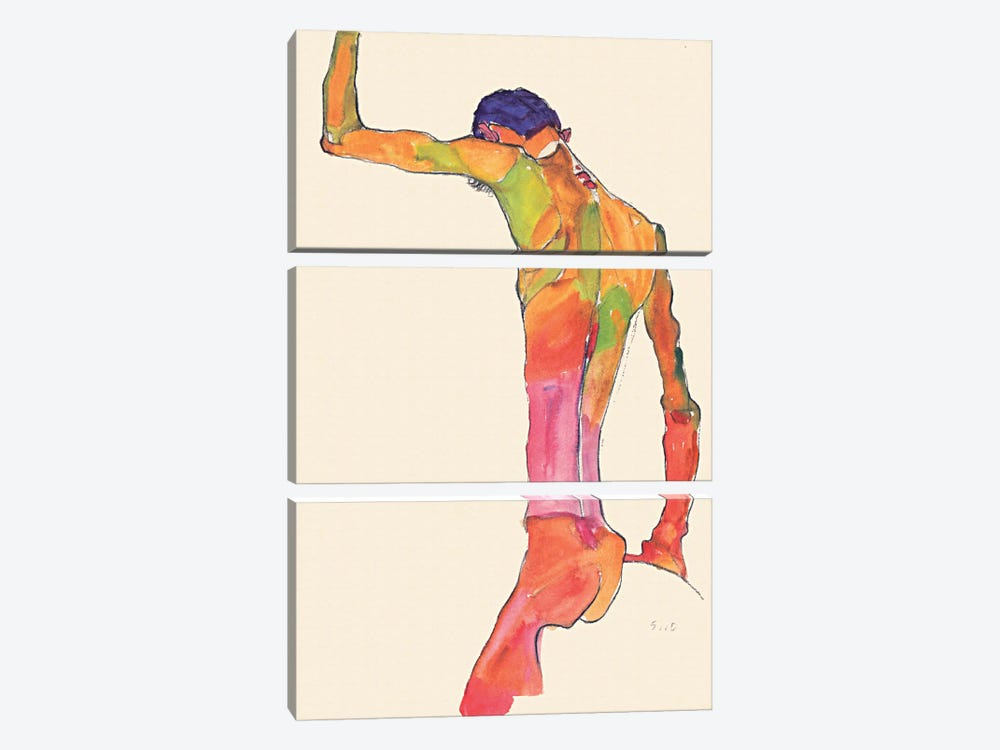 Standing Male Nude with Arm Raised, Back View by Egon Schiele 3-piece Canvas Artwork