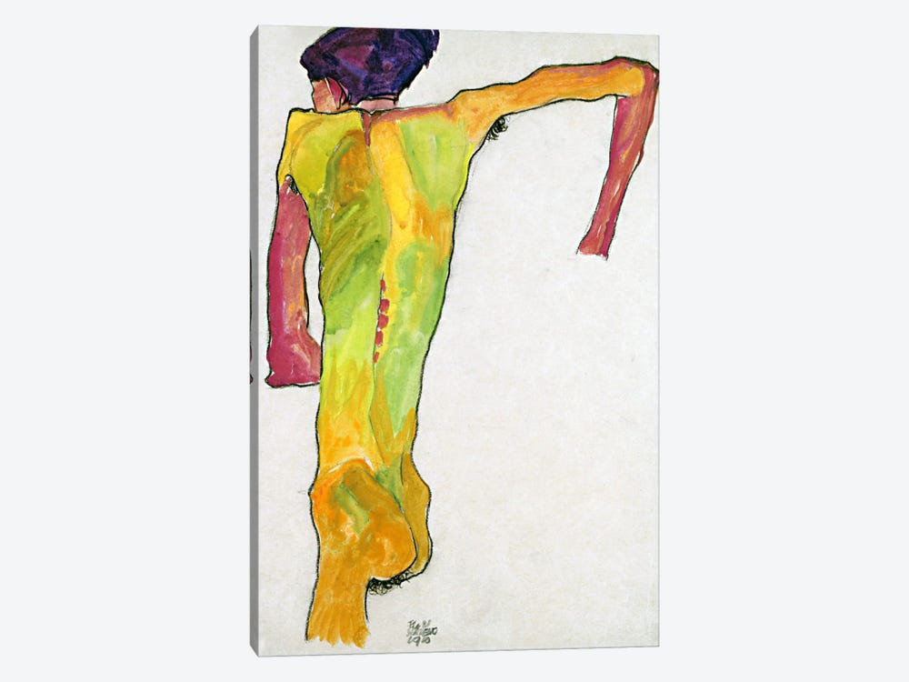 Male Nude Propping Himself Up by Egon Schiele 1-piece Canvas Print