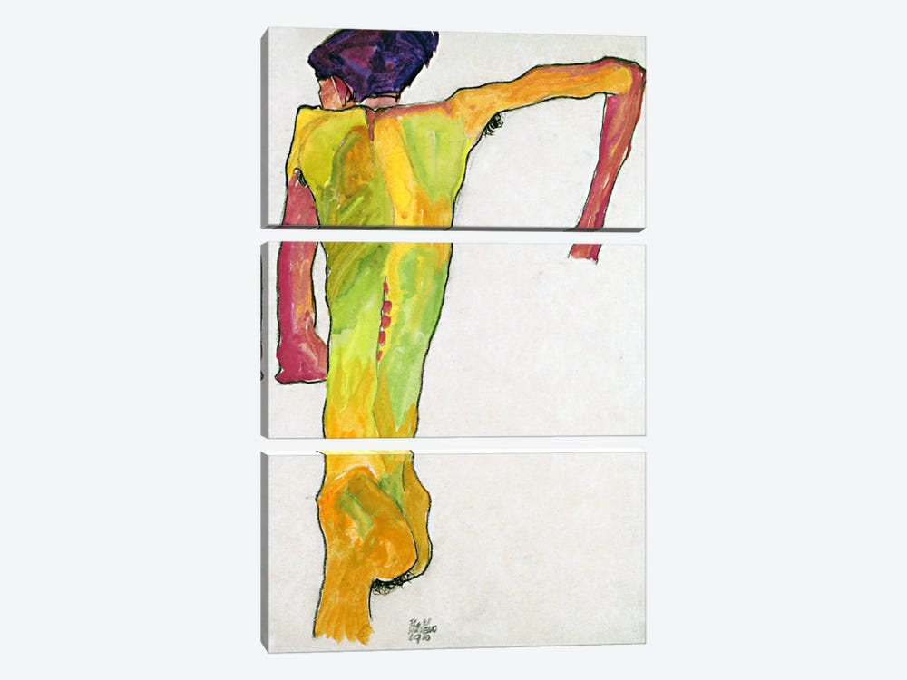 Male Nude Propping Himself Up by Egon Schiele 3-piece Canvas Print