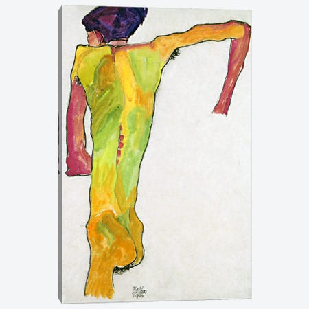 Male Nude Propping Himself Up Canvas Print #8263} by Egon Schiele Canvas Wall Art
