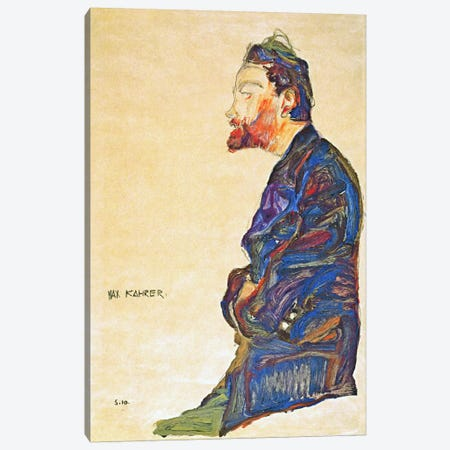 Max Kahrer in Profile Canvas Print #8264} by Egon Schiele Canvas Print