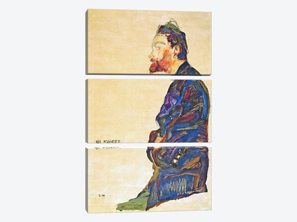Max Kahrer in Profile by Egon Schiele 3-piece Canvas Wall Art