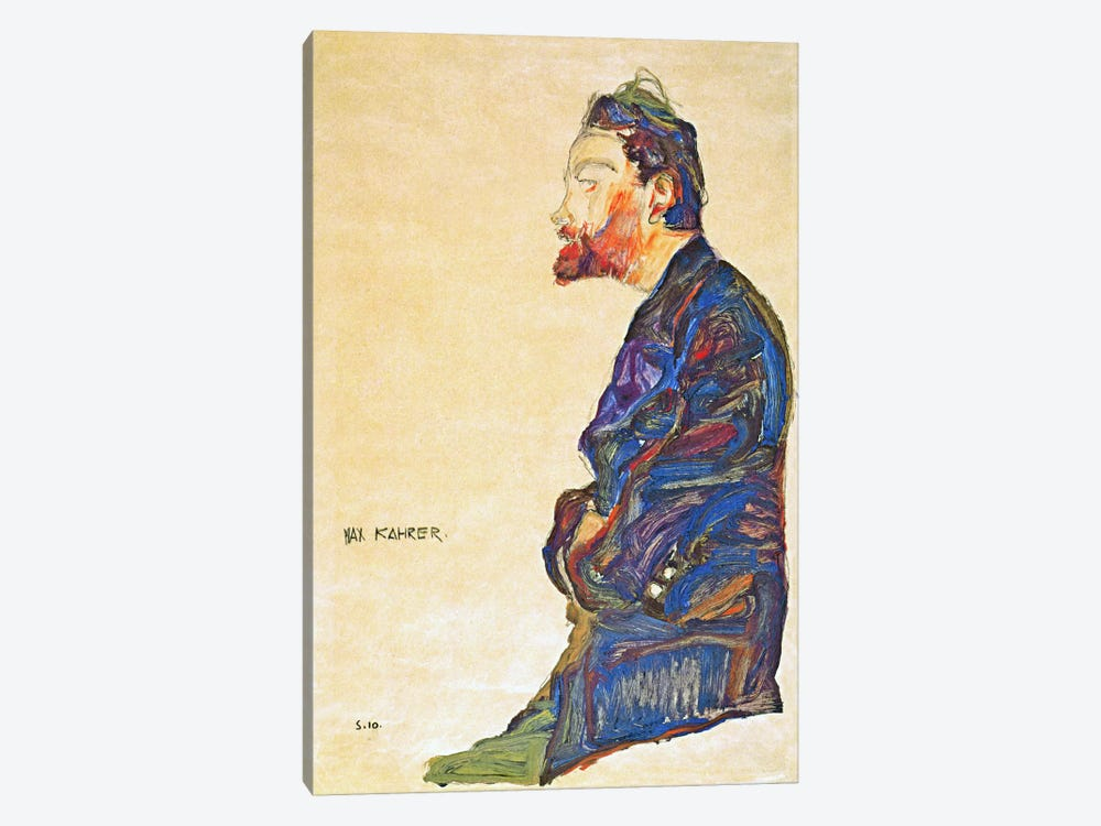 Max Kahrer in Profile by Egon Schiele 1-piece Canvas Wall Art