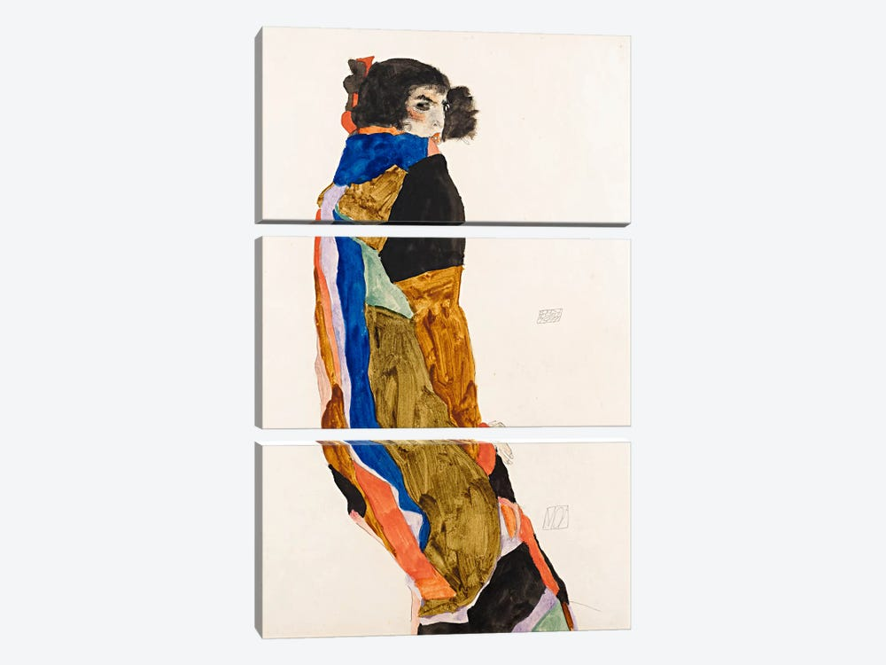 The Dancer Moa by Egon Schiele 3-piece Canvas Print