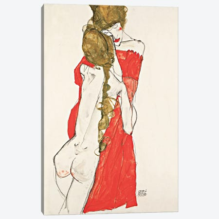 Mother & Daughter Canvas Print #8266} by Egon Schiele Art Print