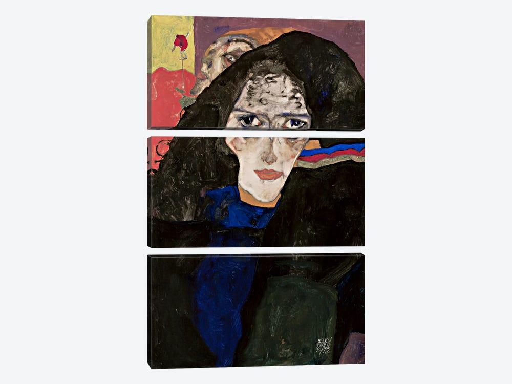 MourningWoman by Egon Schiele 3-piece Canvas Print