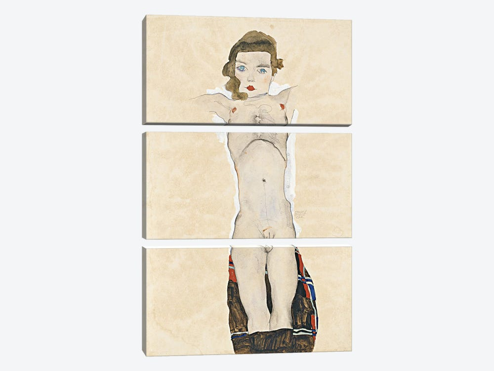 Seated Girl by Egon Schiele 3-piece Canvas Wall Art