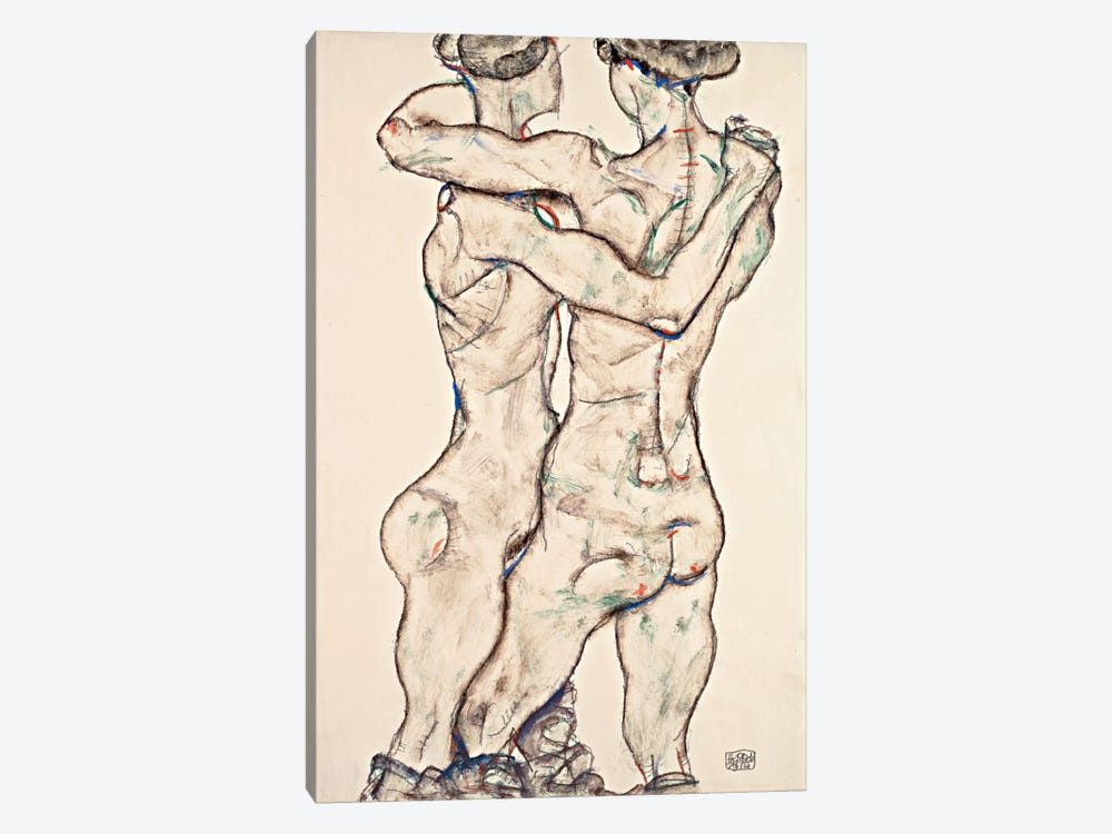 Naked Girls Embracing by Egon Schiele 1-piece Canvas Art Print