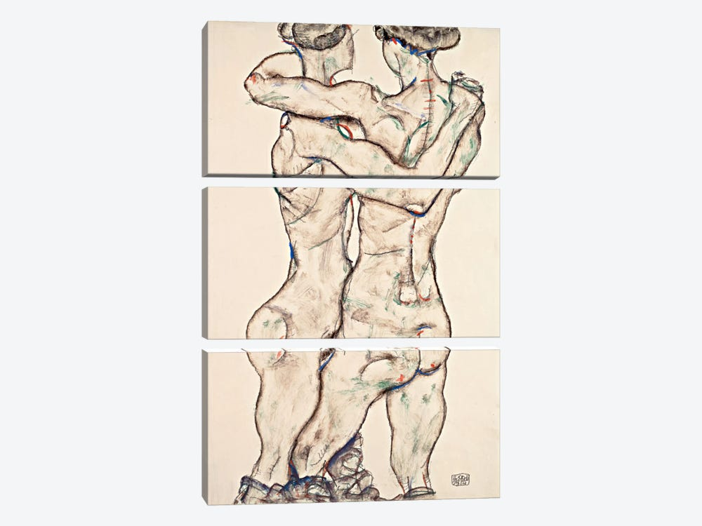 Naked Girls Embracing by Egon Schiele 3-piece Canvas Print