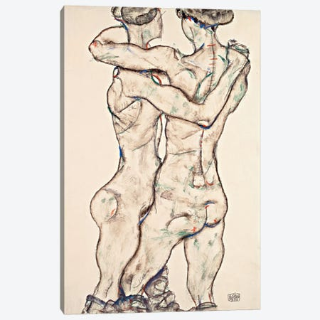 Naked Girls Embracing Canvas Print #8269} by Egon Schiele Canvas Wall Art