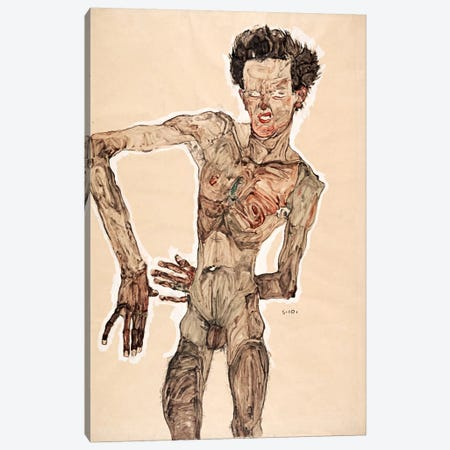 Nude Self Portrait Canvas Print #8270} by Egon Schiele Canvas Art Print