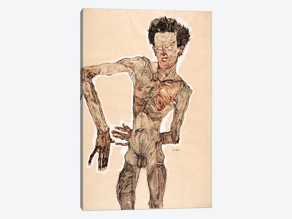 Nude Self Portrait by Egon Schiele 1-piece Canvas Art Print