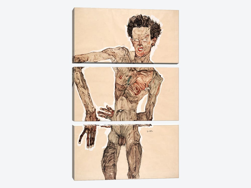 Nude Self Portrait by Egon Schiele 3-piece Canvas Art Print