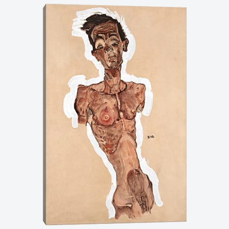 Nude Self-Portrait Canvas Print #8271} by Egon Schiele Art Print