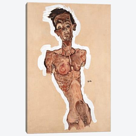 Nude Self-Portrait Canvas Print #8271} by Egon Schiele Art Print