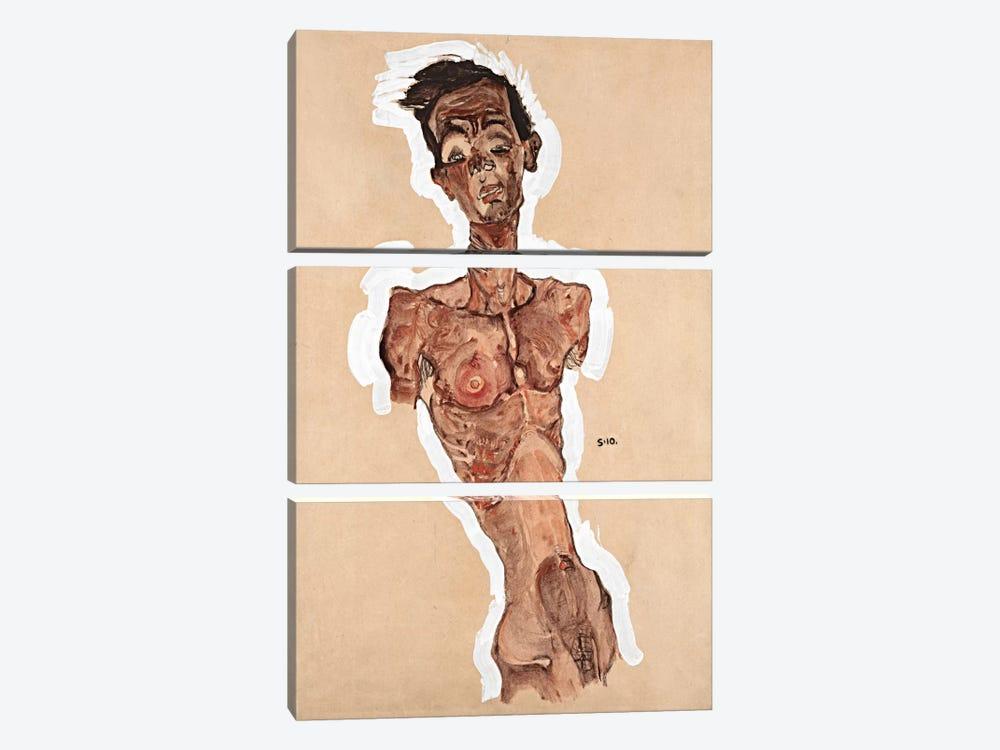 Nude Self-Portrait by Egon Schiele 3-piece Canvas Wall Art